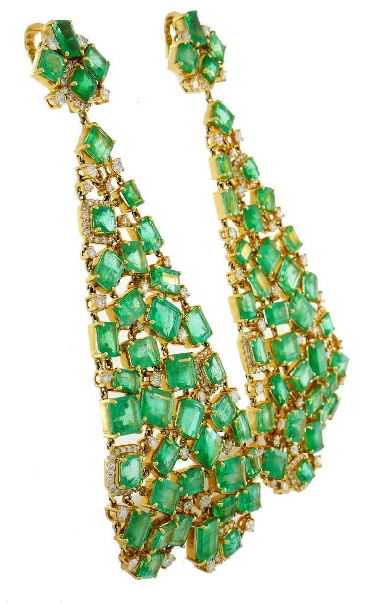 Modern Emerald Diamond Gold Chandelier Earrings