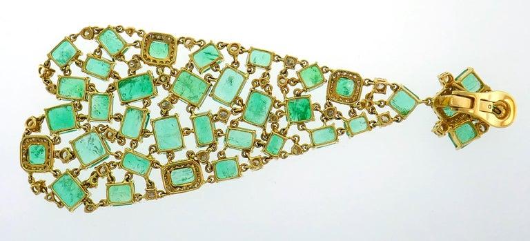 Women's Emerald Diamond Gold Chandelier Earrings