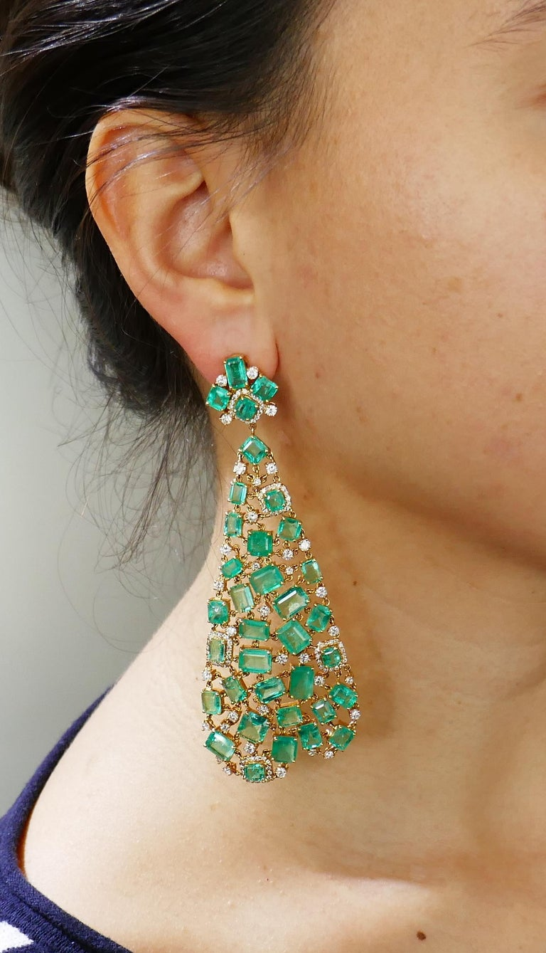 Emerald Diamond Gold Chandelier Earrings  1