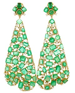 Emerald Diamond Gold Chandelier Earrings