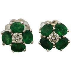 Emerald Diamond Gold Cluster Stud Earrings