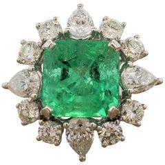 Emerald Diamond Gold Cocktail Ring