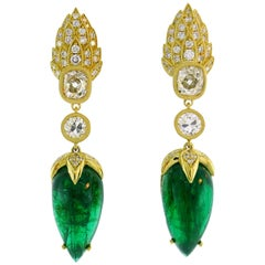 Emerald Diamond Gold Dangle Drop Earrings