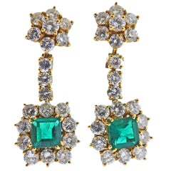 Emerald Diamond Gold Drop Cocktail Earrings