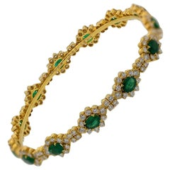 Emerald Diamond Gold Eternity Bangle