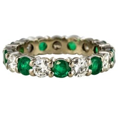 Emerald Diamond Gold Eternity Ring