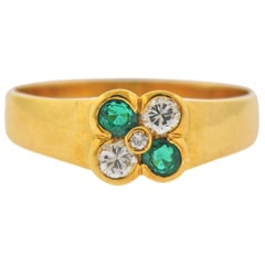 Emerald Diamond Gold Flower Ring