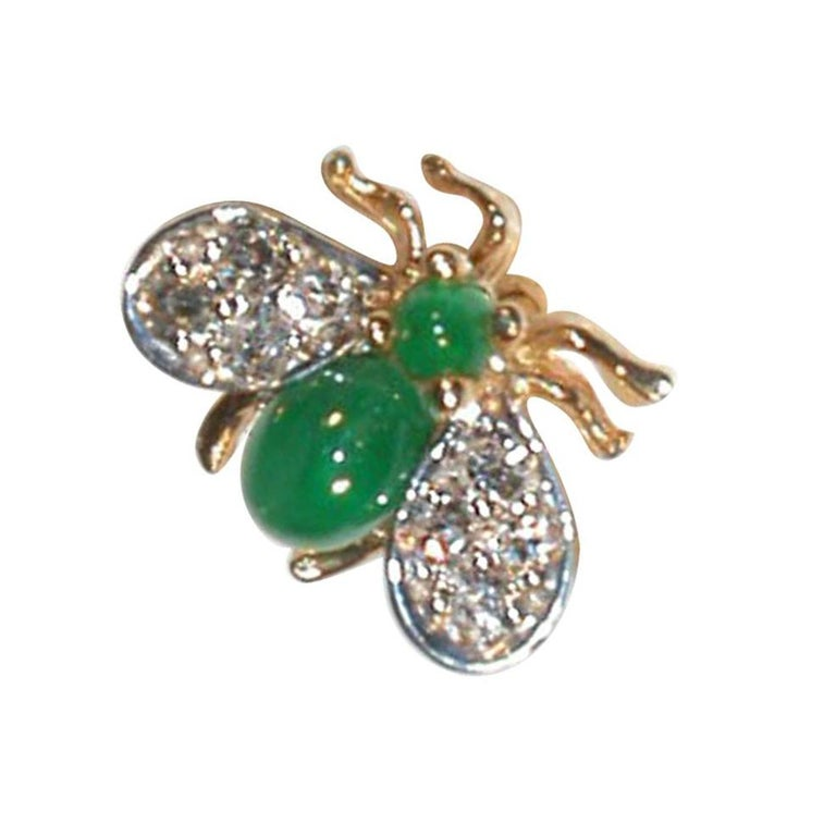 Beautiful Fly Pin Brooch; Hand crafted in 14k with Cabochon-Emerald Body and Diamond set Wings. **This item also available with Ruby, Sapphire or Gold body and head.**