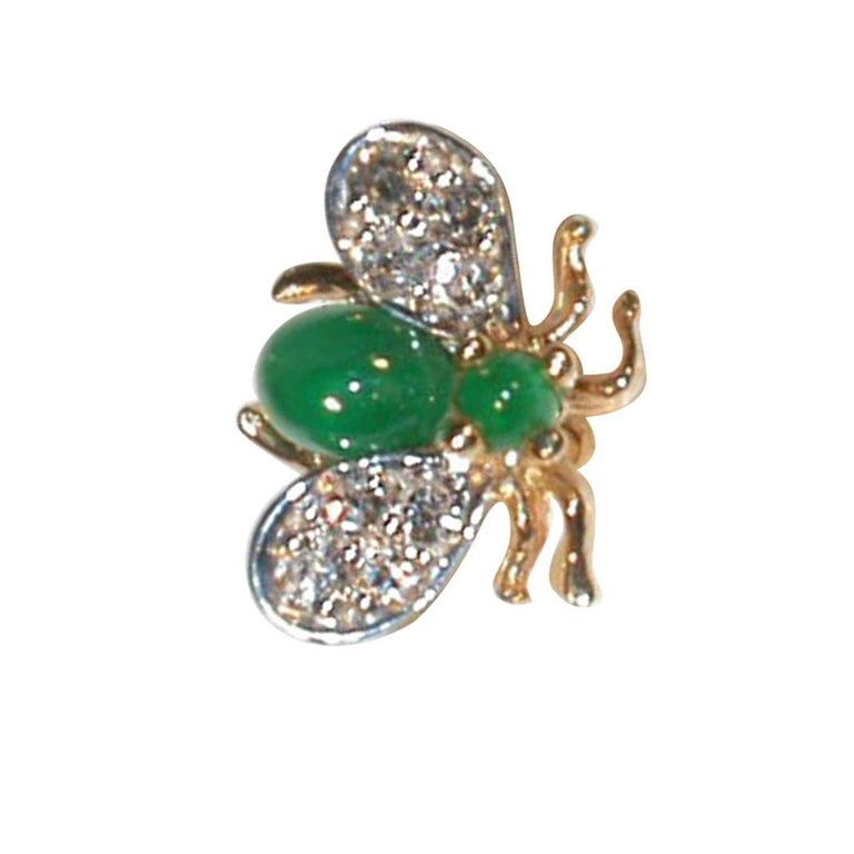 Emerald Diamond Gold Fly Brooch Pin In New Condition For Sale In Montreal, QC