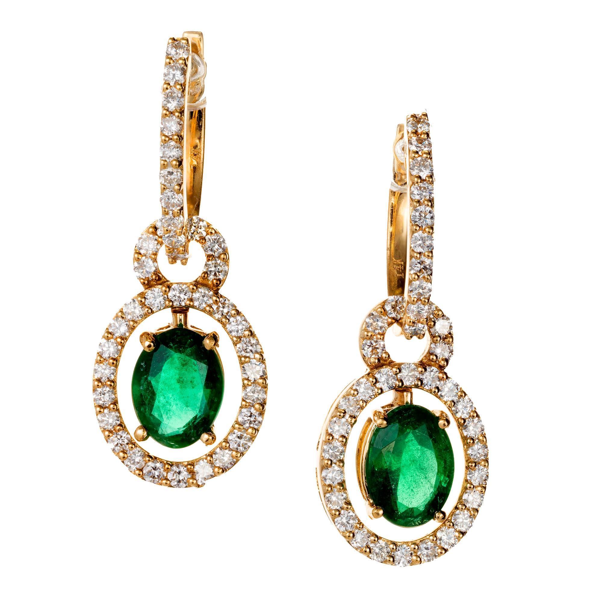 2.00 Carat Emerald Diamond Gold Huggie Dangle Earrings