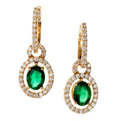 2.00 Carat Emerald Diamond Gold Huggie Dangle Earrings