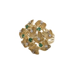 Emerald Diamond Gold Lace Cluster Cocktail Ring