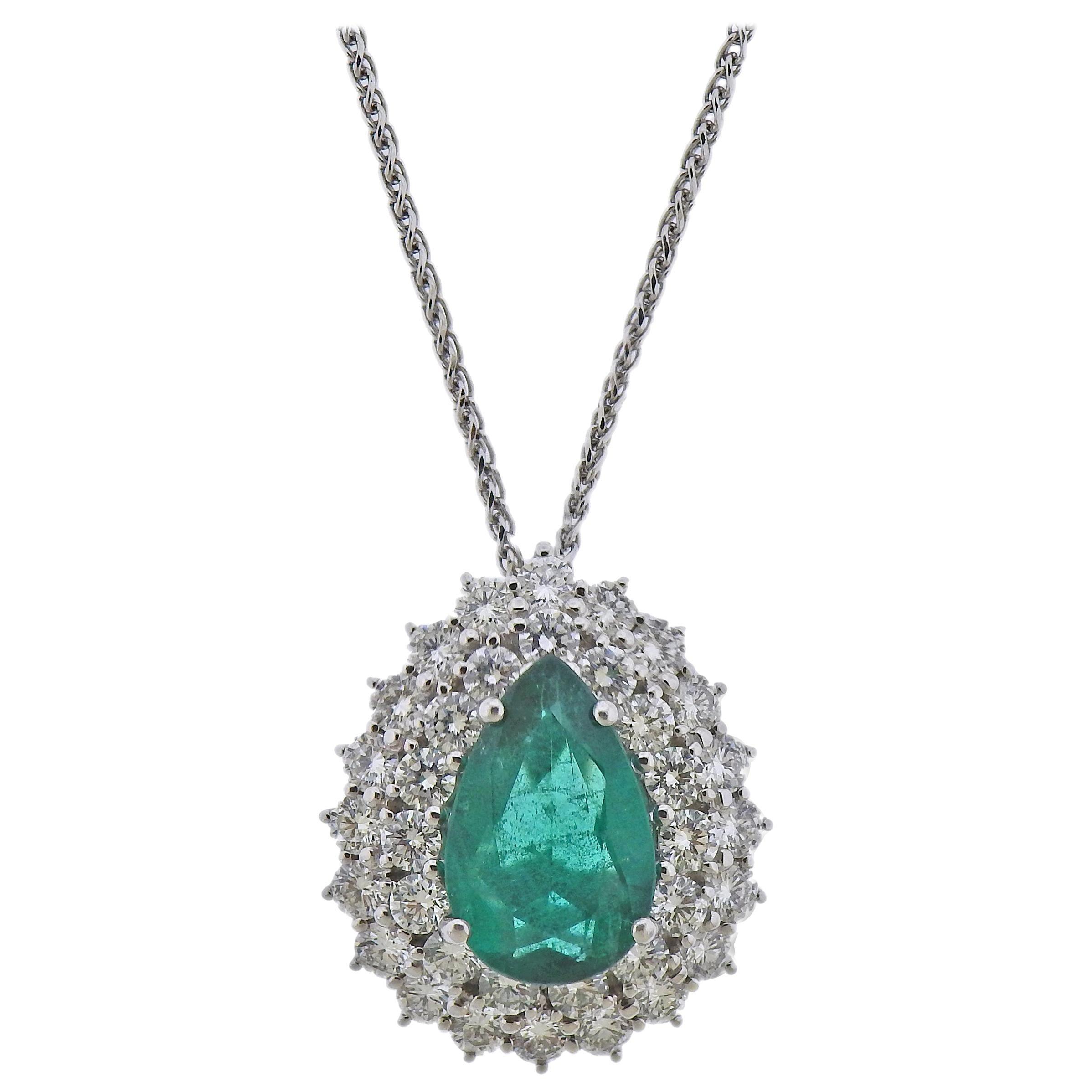Emerald Diamond Gold Pendant Necklace
