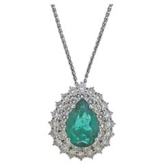 Emerald Diamond Gold Pendant Necklace
