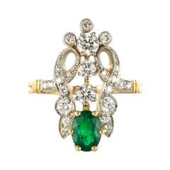 Emerald Diamond Gold Platinum Ring