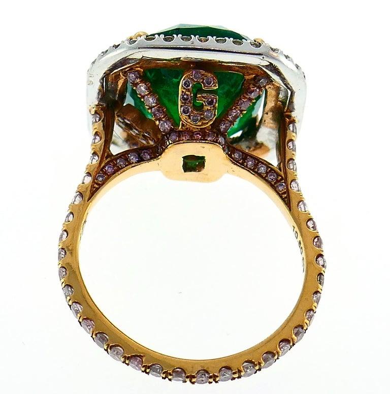 Women's Emerald Diamond Gold Ring  For Sale