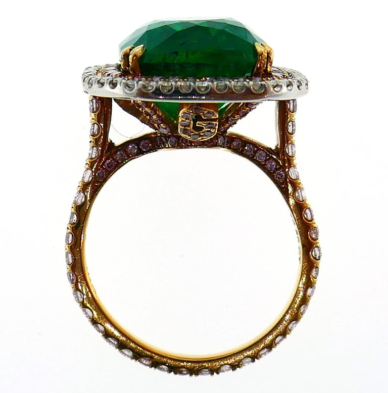 Emerald Diamond Gold Ring  For Sale 1
