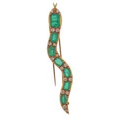 Emerald Diamond Gold Snake Brooch Pin