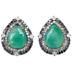 Emerald Diamond Stud Earrings