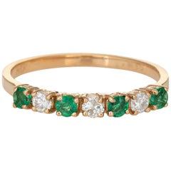 Emerald Diamond Half Hoop Band Vintage 14 Karat Yellow Gold Stacking Ring
