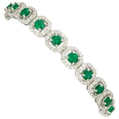 Emerald Diamond Halo Bracelet 10.52 Carat 18 Karat White Gold