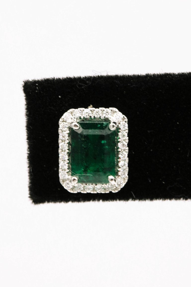 Emerald Diamond Halo Stud Earrings 2.52 Carat 14 Karat White Gold In New Condition For Sale In New York, NY