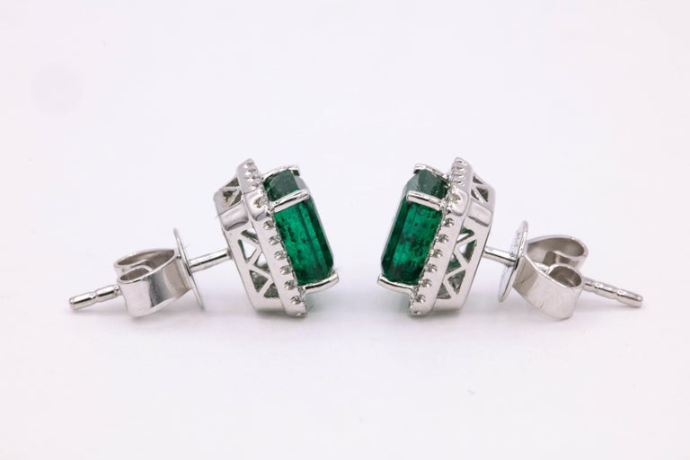Emerald Diamond Halo Stud Earrings 2.52 Carat 14 Karat White Gold For Sale 2