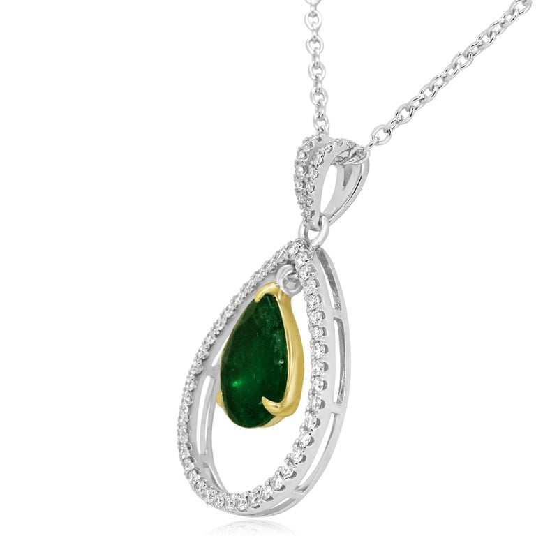 Pear Cut Emerald Diamond Halo Two-Color Gold Chain Drop Necklace For Sale