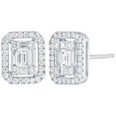 Emerald Diamond Illusion Stud Earring in 18 Karat White Gold