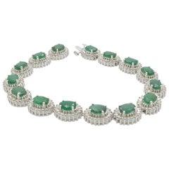 Emerald Diamond Lady Bracelet White Gold