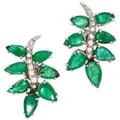 Emerald Diamond Leaf Motif White Gold Earrings
