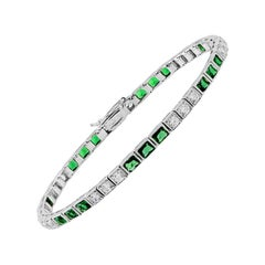 Emerald Cut Diamond Line Bracelet