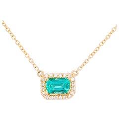 Emerald Diamond Necklace, 14k Gold East West Pendant, Emerald Cut, #NeckMess