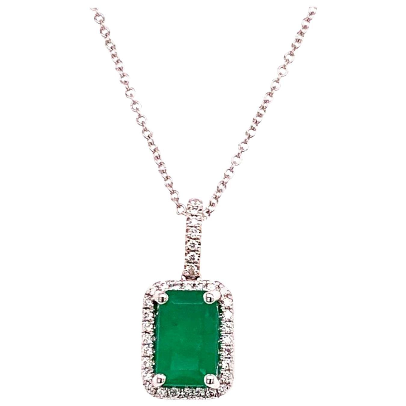 Emerald Diamond Necklace 18k Gold 2.55 TCW Women Certified