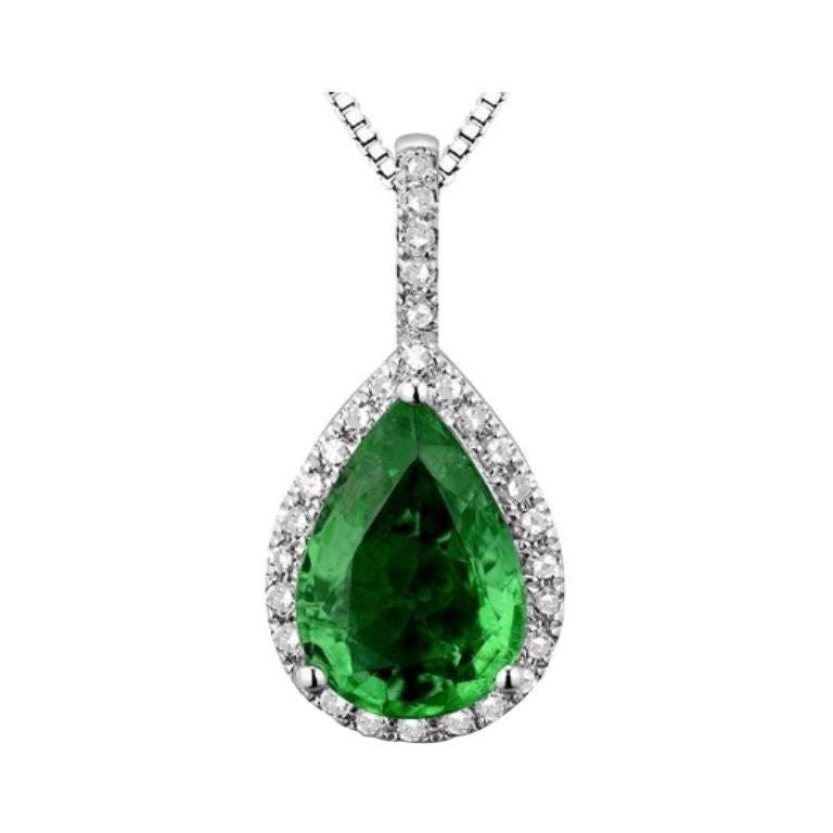 Emerald Diamond Necklace 18K White Gold For Sale