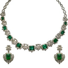 Emerald and Diamond Necklace or Earrings Set
