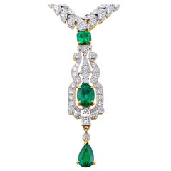 Emerald Diamond Necklace in 18 Karat