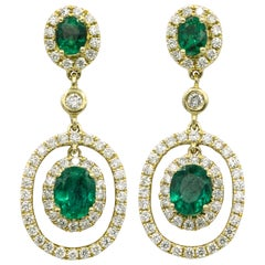Emerald Diamond Oval Shape Drop Earrings 1.79 Carat