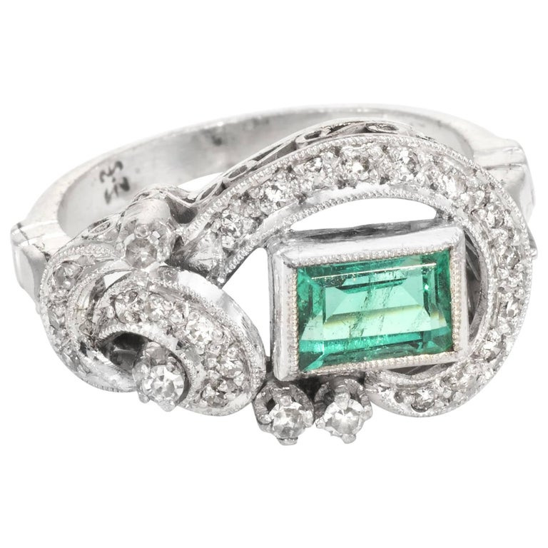 Emerald Diamond Palladium Ring Vintage Cocktail Jewelry At