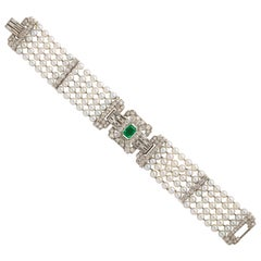 Emerald Diamond Pearl Platinum Bracelet