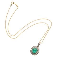 Emerald & Diamond Pendant Certified Brazilian Emerald