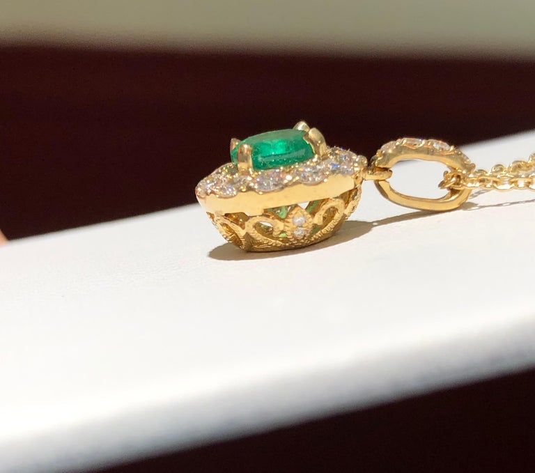 Contemporary Emerald and Diamond Pendant Necklace Yellow Gold For Sale
