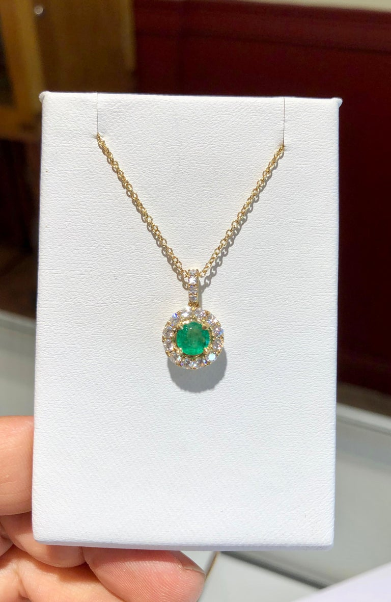 Women's Emerald and Diamond Pendant Necklace Yellow Gold For Sale
