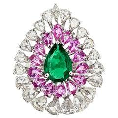 Emerald Diamond Pink Sapphire Ring in 18 Karat Gold