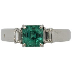 Emerald Diamond Platinum 3-Stone Ring