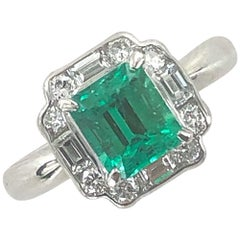 Columbian Emerald Diamond Platinum Estate Ring AGL Certified
