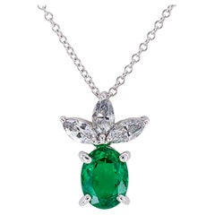 Emerald Diamond Platinum Pendant