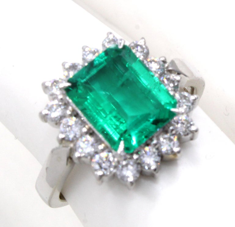 Women's or Men's Emerald Diamond Platinum Ring For Sale