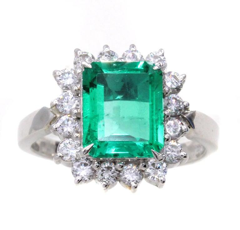 Emerald Diamond Platinum Ring For Sale 2