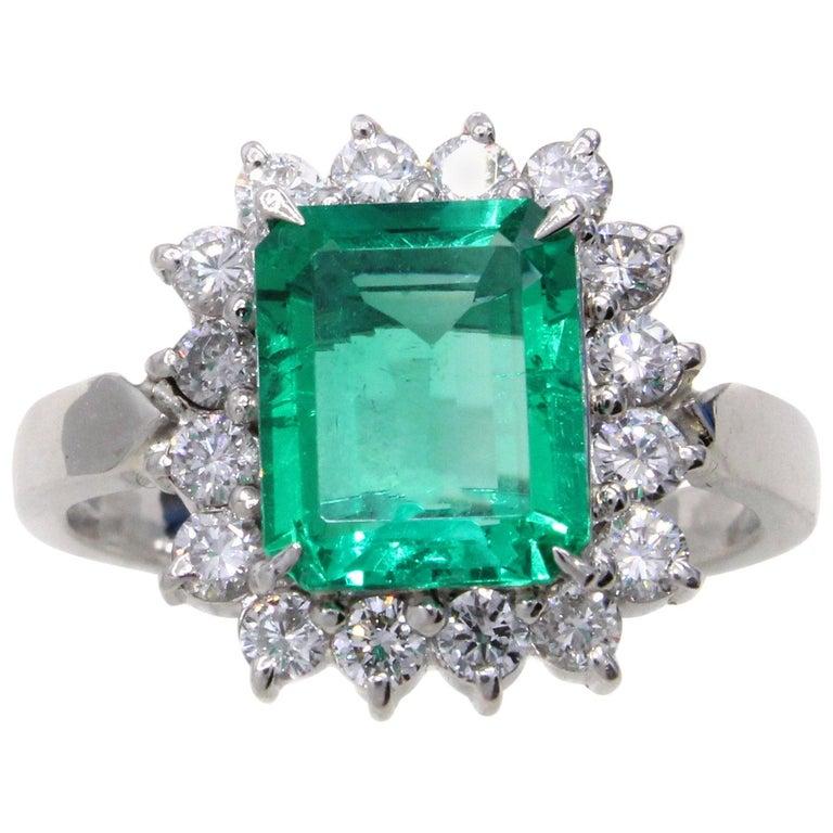 Emerald Diamond Platinum Ring For Sale